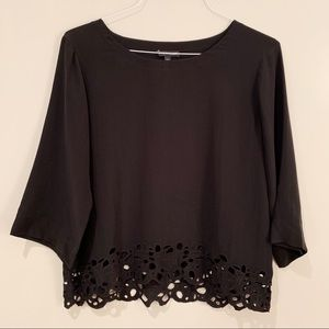 Eileen Fisher Black Silk Cutout Blouse